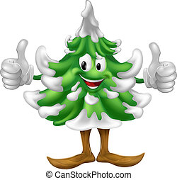 Christmas tree cartoon man - A happy Christmas tree cartoon...