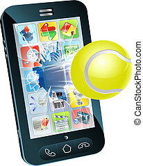 Tennis ball flying out of mobile phone - Illustration of a...