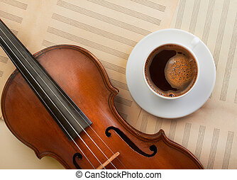 old violin and coffee cup - old violin and hot coffee cup