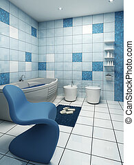 bathroom interior - 3d rendering of the modern bathroom
