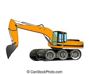 Excavator Illustration with Clipping Path