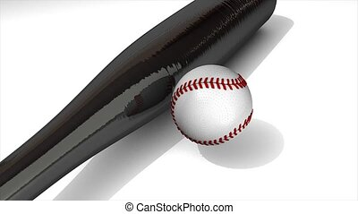 Ball and bat - Baseball animation, ball and bat over white.