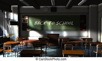 Back to school - Empty school classroom with back to school...