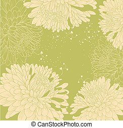 background with chrysanthemums and heart