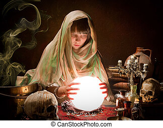 Scrying with a crystal ball - Beautiful young gypsy reading...