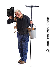 Chimney sweep greetings - Grungy chimney sweep greeting with...