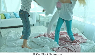 Classic pillow fight - Free time, friends, pillows %u2013...