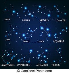 zodiaque, signes, vecteur, Illustration