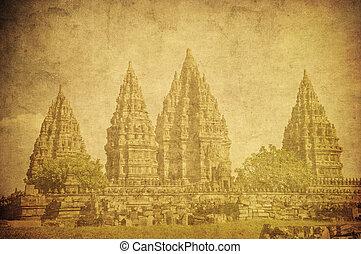Vintage image of Prambanan temple, Java, Indonesia