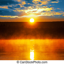 Lake on sunset - Sunset scene on lake