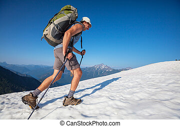 Hike in North Cascades - Hiker in  mountains