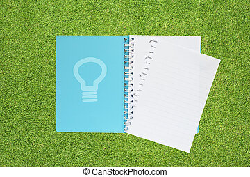 Book with bulb light on grass background