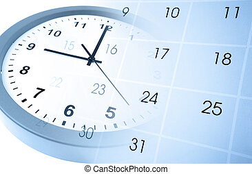 Time management - Clock face and calendar page