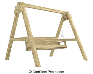 Wooden garden swing bench with a sturdy A-frame construction...