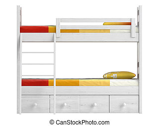 Double bunk bed with storage drawers and a ladder painted...