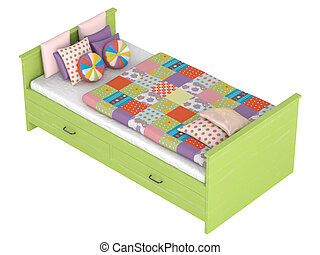 Bed with storage drawers - Green wooden bed with storage...