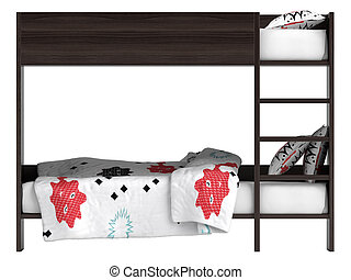 Modern bunk bed with bedding - Modern black double bunk bed...