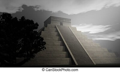Aztec pyramid - An artist visualize Maya Pyramid.