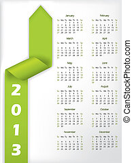 2013 arrow shaped green ribbon calendar - 2013 calendar with...