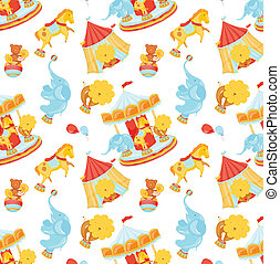 Pattern Circus - Circus pattern with animals and carousel...