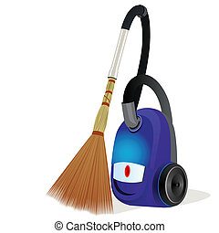 A vacuum cleaner with a broom - Modern vacuum cleaner with a...
