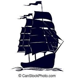 Circuit brigantine - Old sailing ship. Illustration on white...