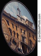 the reflex of palazzo della posta in a mirror - the reflex...