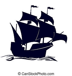 Circuit frigate - Old sailing ship Illustration on white...