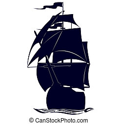 Contour military frigate - Old sailing ship Illustration on...