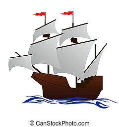 Frigate - Old sailing ship Illustration on white background...