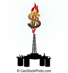 Gas rig and a dollar sign