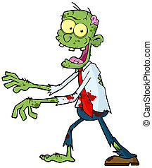 Green Zombie  - Cartoon Zombie Walking With Hands In Front