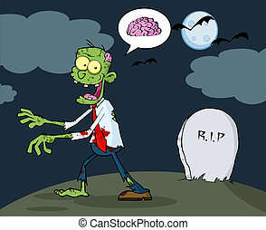 Zombie Walking With Hands In Night - Cartoon Zombie Walking...