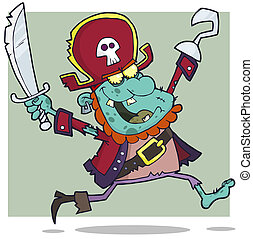 Pirate Zombie With A Cutlass Cartoon Character