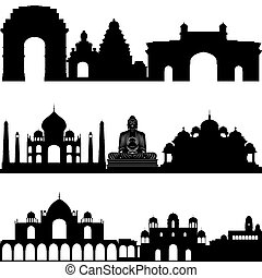 Indian architecture - Outlines of buildings and...