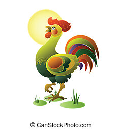 Funny rooster on the white background