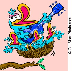Singing birds - Cartoon of a family of birds, singing along...