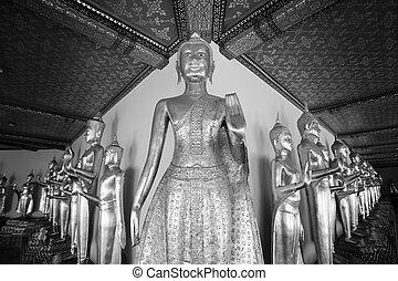 Buddha statue, Black and white