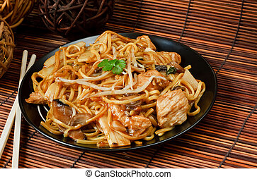 Chicken chow mein a popular chinese food available at take...