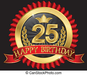 25 years happy birthday golden label with ribbons