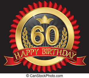 60 years happy birthday golden label with ribbons