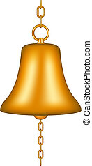 Golden bell with a chain on white background