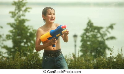 Fighters - Funny kids fighting playfully with water guns