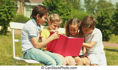 Funny story - Cheerful kids enjoying sunny day outdoors...