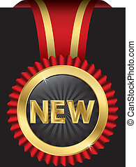New golden label with ribbons, vector