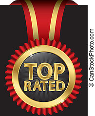 Top rated golden label with ribbons, vector