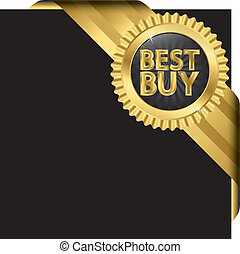 Best buy golden label with ribbons, vector