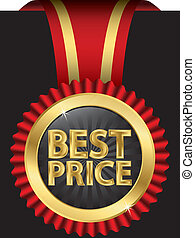 Best price label with ribbons, vector