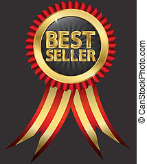 Best seller label with golden ribbons, vector