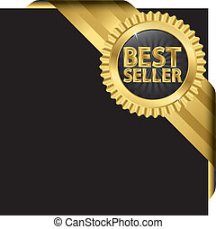 Best offer golden label with ribbons, vector